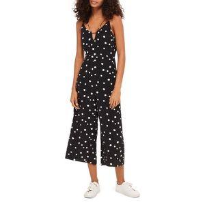 Topshop Pants - TOPSHOP | Spot Strappy Culotte Jumpsuit Polka Dot